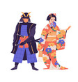 couple geisha and samurai standing isolated vector image vector image