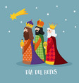 Cute christmas greeting card with biblical three vector image