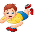 cute little boy playing red toy car vector image