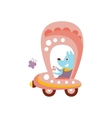 Dog Driving Pink Car Stylized Fantastic vector image
