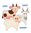 farm animals cow sheep and goat isolated vector image vector image