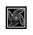 flower black silhouette on white vector image