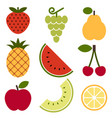 fruit icons isolated on white background vector image vector image
