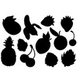fruit silhouettes set exotic summer fruit vector image vector image