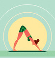 girl in yoga downward-facing dog pose vector image