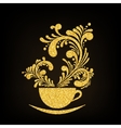 Gold Glitter Cup of Coffee with Floral vector image vector image