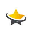 gold star swoosh logo icon vector image vector image