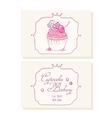 Hand drawn cherry cupcake business cards template vector image