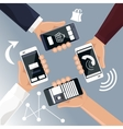 Hands holding smartphones telephones that vector image