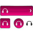 headphones button set vector image vector image