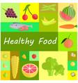 healthy organic food cartoon set vector image