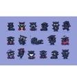 isolated Emoji character cartoon black cat vector image vector image