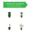 isometric houseplant set of houseplant grower vector image vector image