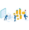 isometric man looks at the amount of loans vector image vector image
