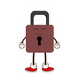 kawaii padlock security protection cartoon vector image