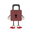 kawaii padlock security protection cartoon vector image