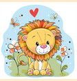 lion with flowers and butterflies on a meadow vector image
