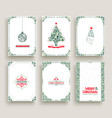 merry christmas card set template in vintage style vector image vector image