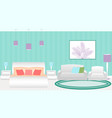 modern style hotel bedroom interior with furniture vector image vector image