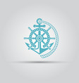 nautical emblem with anchor rope isolated vector image