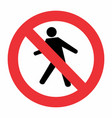 no pedestrian traffic sign vector image vector image