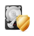 opened hard drive disk with shield vector image