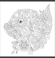 piggy with flowers coloring book for adults vector image vector image