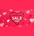sale banner for valentine day with papercut heart vector image vector image