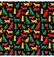 seamless pattern with cats and dogs on black vector image