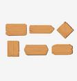 set cartoon wood badge banner graphic vector image vector image