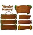 set dark wooden banners 2 vector image vector image