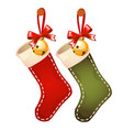 set of hanging colored socks red and green colors vector image