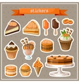 Set of stickers with sweets cakes ice cream and vector image vector image