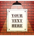 Signboard on brick wall vector image vector image