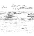 sketch of sandy beach and wavy sea vector image