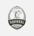 squirrel distillery logo design vector image vector image