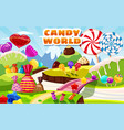 sweet candy world fairy landscape panorama vector image vector image