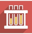Test Tubes Flat Longshadow Square Icon vector image vector image