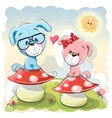 Two cartoon puppies vector image vector image