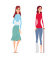 young woman broken hand and leg vector image