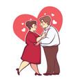 overweight romantic couple happy cartoon man and vector image