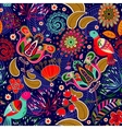 Floral seamless pattern with birds vector image