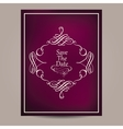 Greeting card with vintage frame on blurred dark vector image