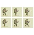 Soldier flat design run animation frames vector image