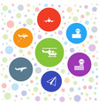 7 aviation icons vector image vector image