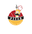 abstract label pizza cook in cartoon style vector image vector image