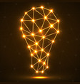 abstract polygonal lamp with glowing dots and line vector image vector image