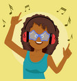 african woman listening to music with earphones vector image vector image