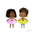 afro american girl and boy in joy swimming pool vector image vector image