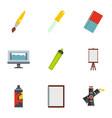 art school icons set flat style vector image vector image